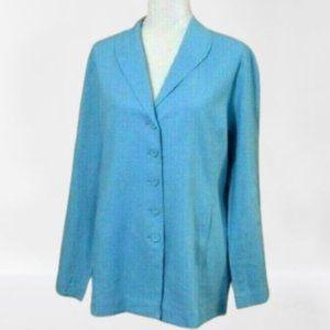 Chadwick's Blue Linen Rayon Blazer Size 14